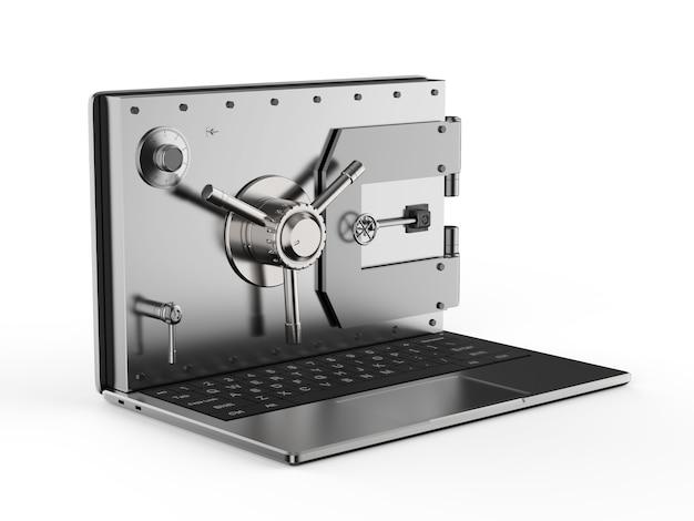 컴퓨터 노트북에 3d 렌더링 금고 문이 있는 온라인 보안 개념