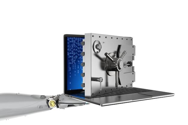 Концепция онлайн-безопасности с роботом, открывающим дверь хранилища