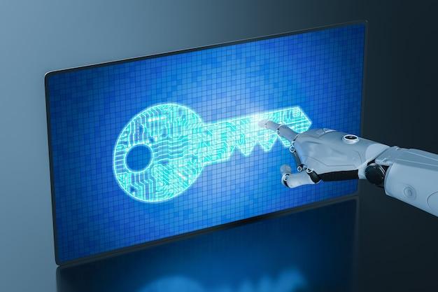 Онлайн-безопасность с цифровым экраном с отображением клавиш цепи