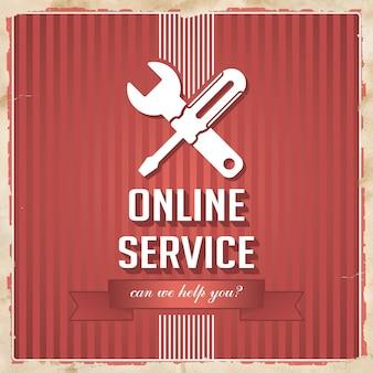 교차 스크루 드라이버 및 렌치 아이콘과 빨간색 줄무늬에 슬로건이있는 온라인 서비스. 평면 디자인의 빈티지 개념입니다.