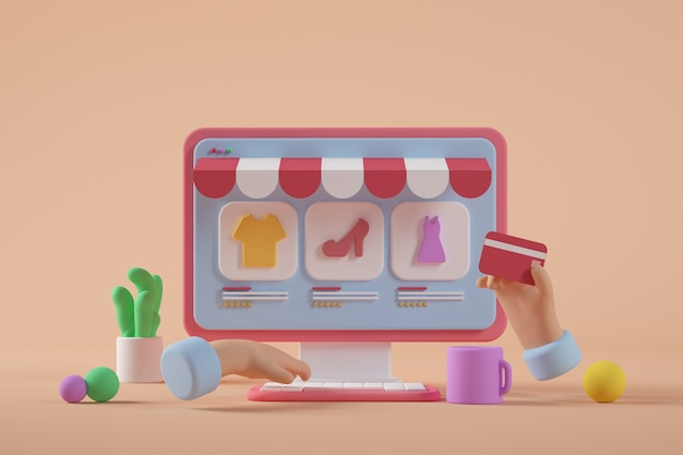 온라인 상점 만화 컴퓨터 3d 렌더링