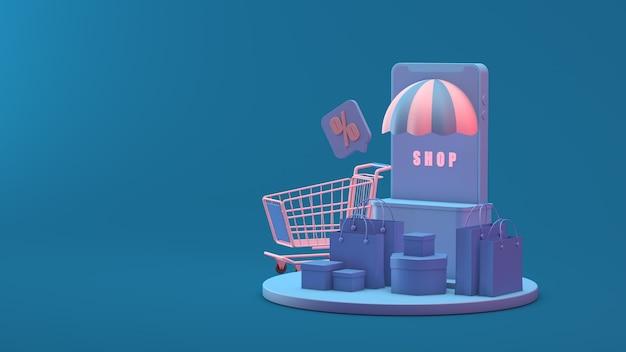Online shop on mobile application or website concept marketing and digital marketing 3d rendering