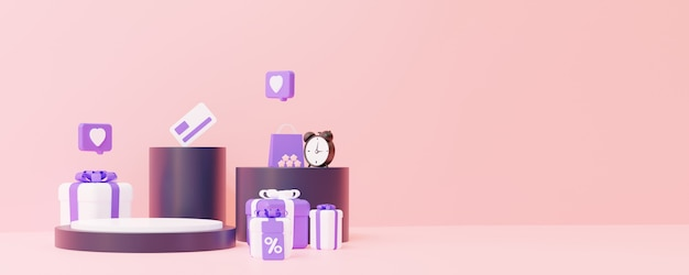 Online shop podium with gifts the concept of sales for the placement of any item 3d rendering