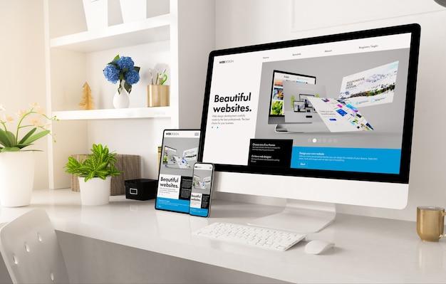 홈 오피스 설치 3d 렌더링에 온라인 상점 웹 사이트