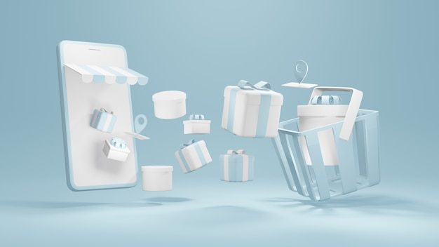 Online shopping 3d rendering smartphone with gift boxes and location service symbols float to basket