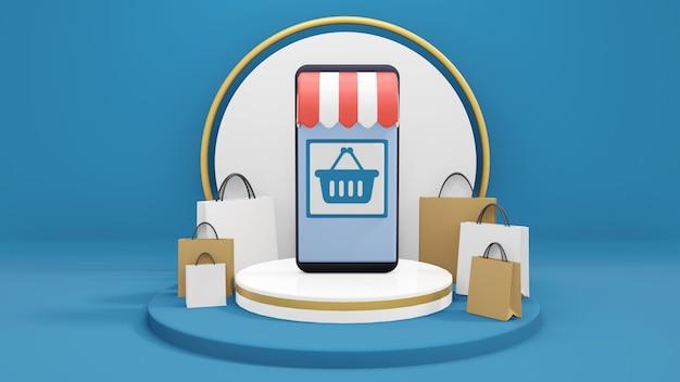 スマートフォンのオンラインショッピングアプリケーション、オンラインショッピングのコンセプト、表彰台の買い物袋に囲まれたオンラインショップ、3dレンダリング、3dillustration