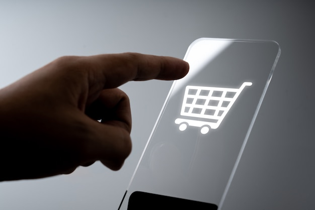 Online shopping business icon application on smart phone