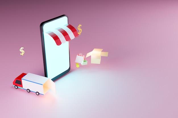 Online shopping by smart phone, internet marketing concept, 3d illustration rendering