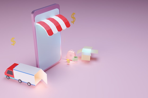Online shopping by smart phone, internet marketing concept