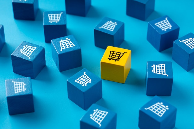 Online shopping  on colorful puzzle cube