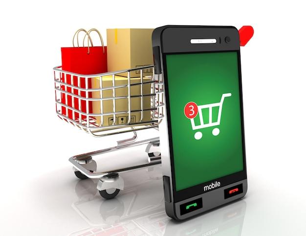 Концепция покупок в интернете. 3d иллюстрация