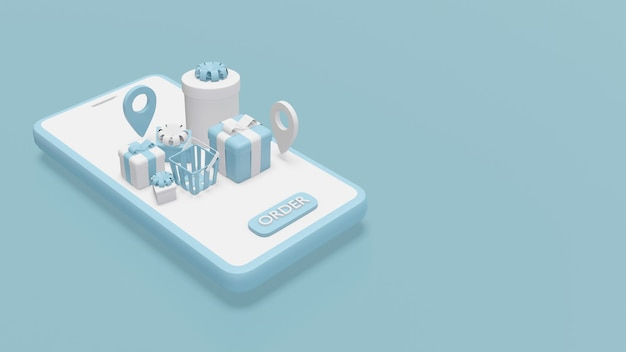 Online shopping concept 3d rendering of gift boxes and location service symbols on smartphone