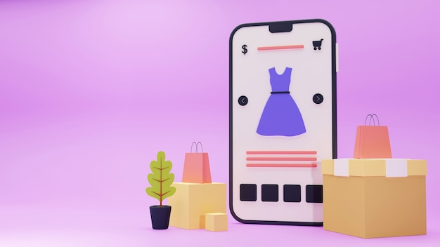 온라인 쇼핑 개념 3d 렌더링