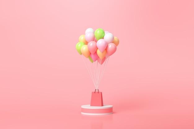 Концепция покупок в интернете. воздушные шары и подарочные коробки с хозяйственной сумкой на розовом