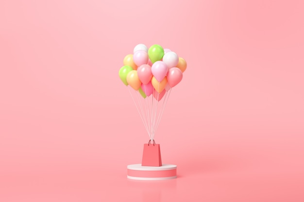 Online shopping concept. balloons and gift boxes with shopping bag on pink