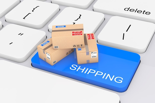 Online shopping concept. blue shopping button with cardboard boxes extreme closeup. 3d rendering