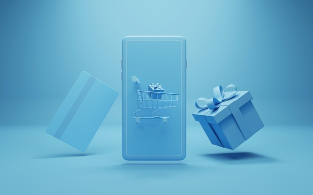 Online shopping concept  in blue tone, 3d illustration.