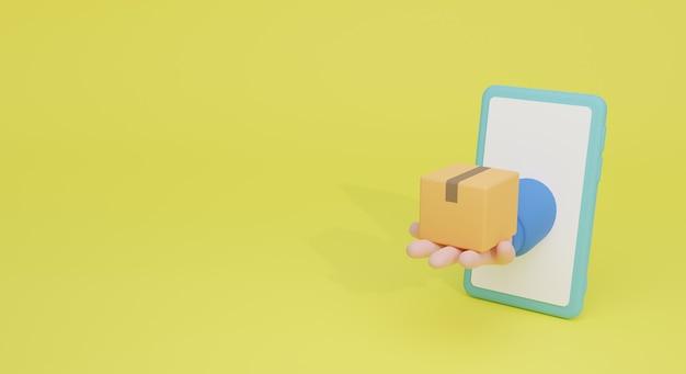 Online shopping concept for landing page and banner 3d illustration. minimal business illustration