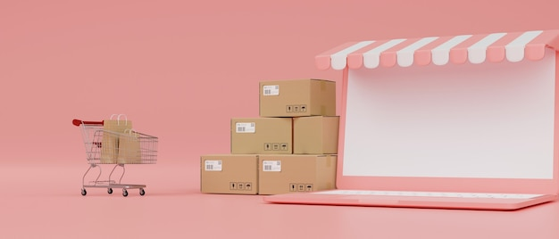 Online shopping concept laptop with mockup screen awning cart and boxes on pink background