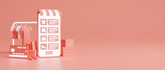온라인 쇼핑 개념, 휴대 전화 쇼핑 응용 프로그램은 분홍색 파스텔 배경에서 옷과 신용 카드를 조롱합니다. 3d 렌더링, 3d 일러스트레이션