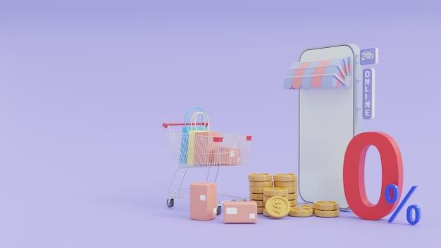 Концепция интернет-покупок на смартфонах со специальными предложениями, 0% рассрочка, 3d иллюстрации