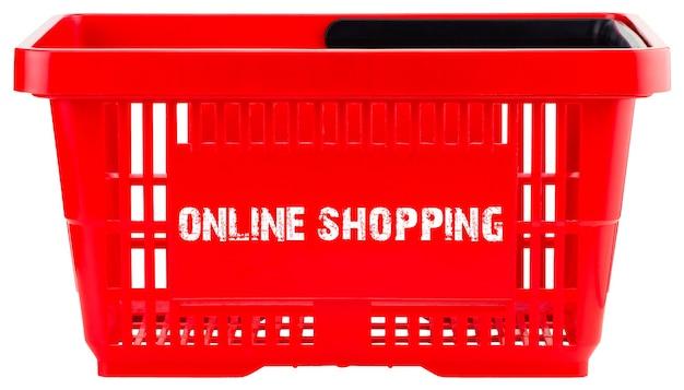 オンラインショッピングのコンセプト。白い背景で隔離の赤い空の買い物かご