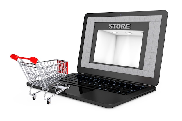 Online shopping concept. shoppping cart over laptop with store building as screen on a white background. 3d rendering