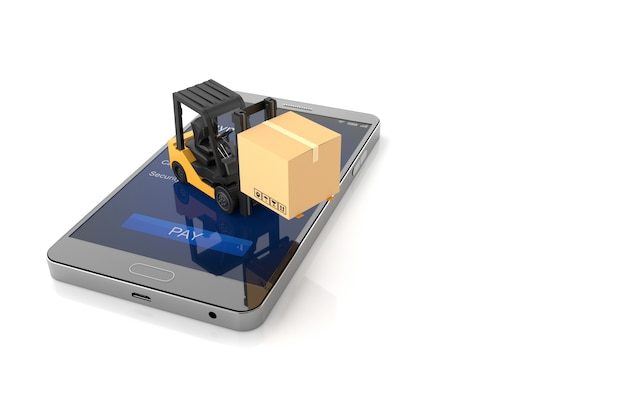 Online shopping concept, smartphone with forklift