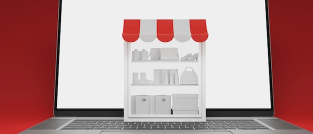 Online shopping concept stock shelves on laptop with mockup screen on red background 3d render