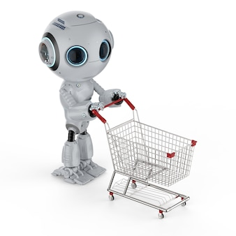 Online shopping concept with 3d rendering cute artificial intelligence robot with shopping cart