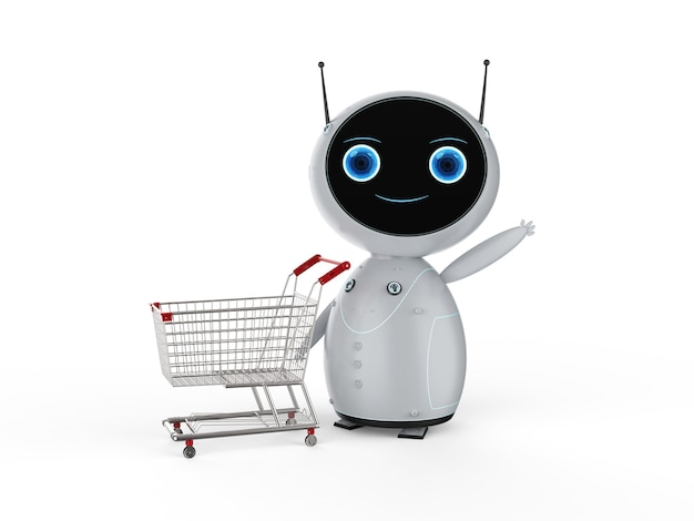 Online shopping concept with 3d rendering cute robot hold empty shopping cart