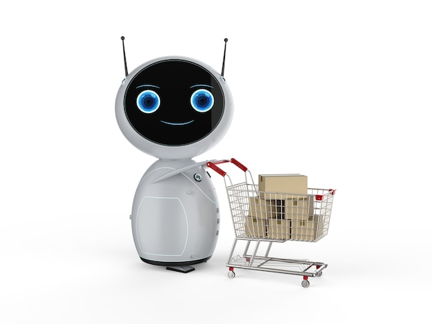 Online shopping concept with 3d rendering cute robot hold shopping cart