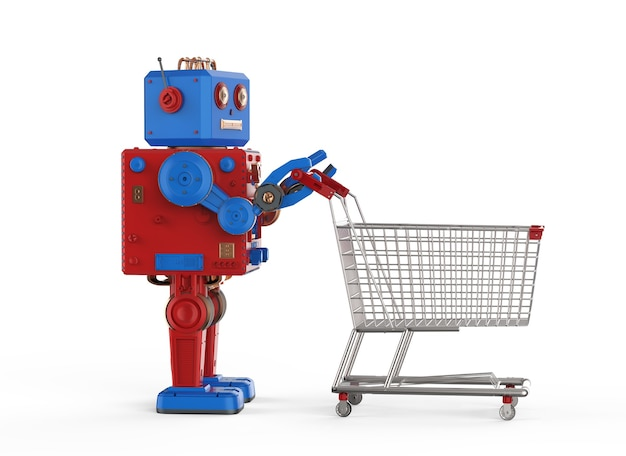 Online shopping concept with 3d rendering robot tin toy hold shopping cart
