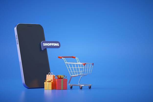 Концепция покупок в интернете с тележкой, коробками и сумкой