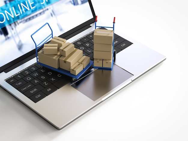 Online shopping concept with hand truck on computer notebook