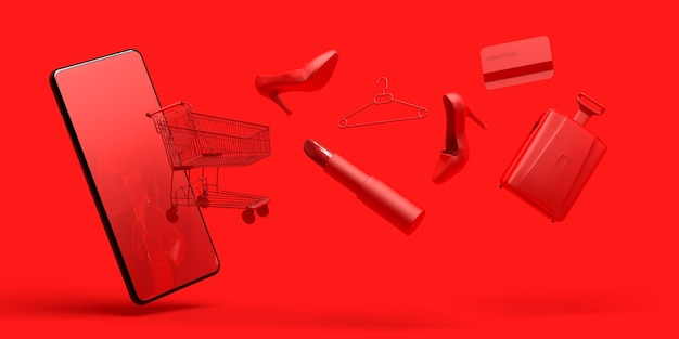 Online shopping concept with smartphon shopping cart lipstick shoe credit card  3d illustration