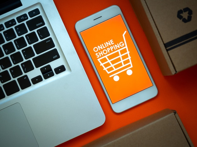 Online shopping concept. words