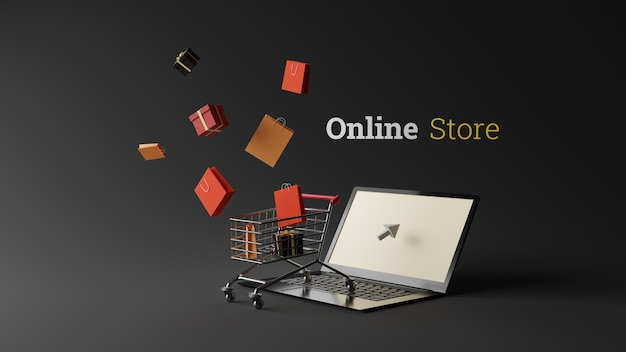 Online shopping design with shopping bag and gift box on laptop