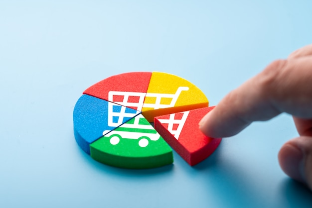 Online shopping icon on colorful jigsaw puzzle