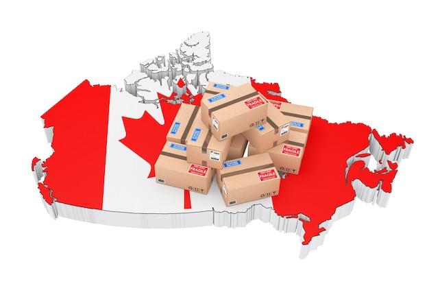 カナダのコンセプトでのオンラインショッピング。白い背景の上のカナダの地図上の小包。 3dレンダリング