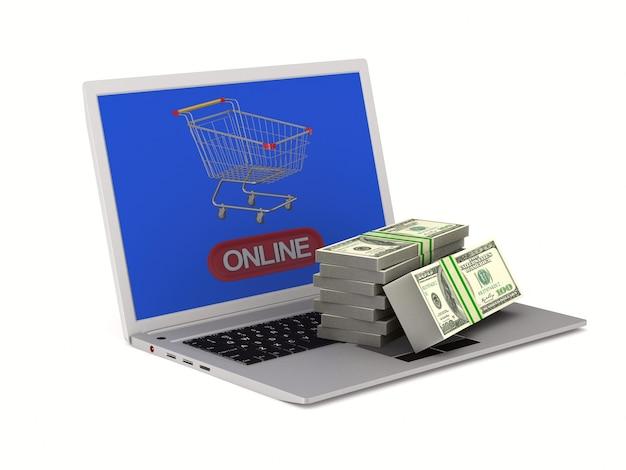 온라인 쇼핑. 격리 된 3d 렌더링