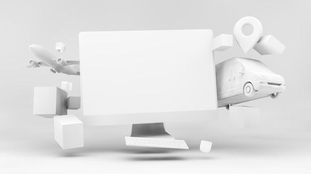 Концепция логистики онлайн-покупок в 3d-рендеринге