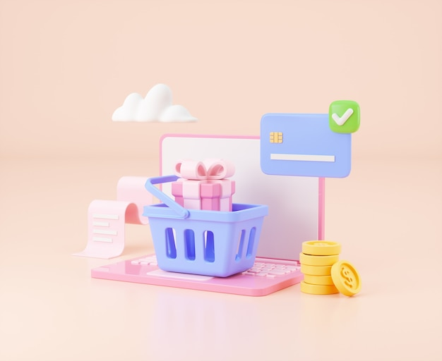 Online shopping and marketing concept 3d illustration