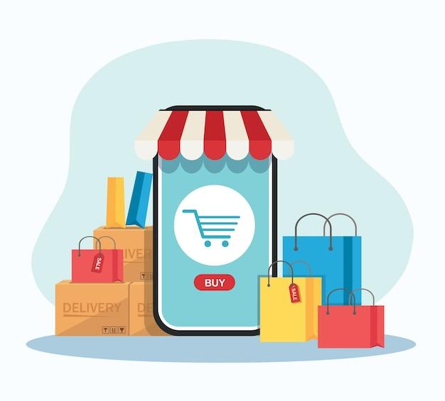 응용 프로그램 및 모바일 개념에 대한 온라인 쇼핑