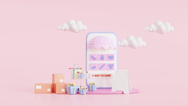 モバイルアプリケーションの概念に関するオンラインショッピング。ショッピングバッグとボックス付き。ピンクの最小限の背景と青いスマートフォンのショーケースのディスプレイアイコンが棚にあります。デジタルマーケティング。 3dレンダリングイラスト