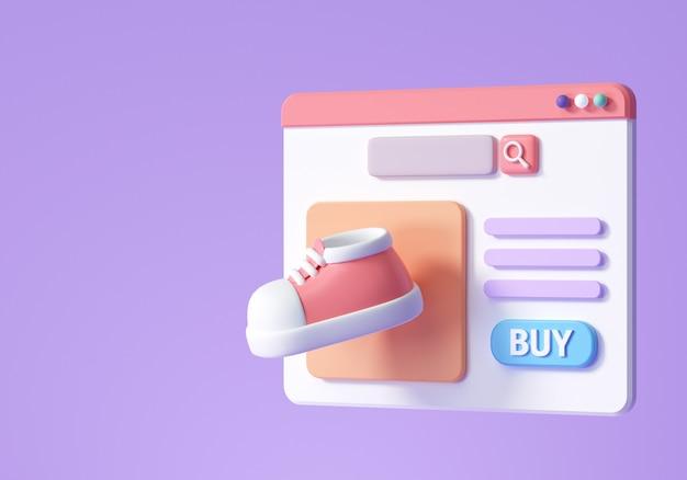 Webページのコンセプトでオンラインショッピング。 eコマースのウェブサイトのデザイン。 3dレンダリングイラスト