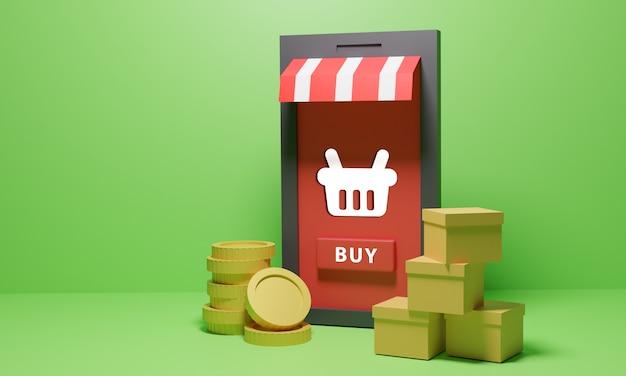 상품과 동전을 가진 온라인 쇼핑 상점