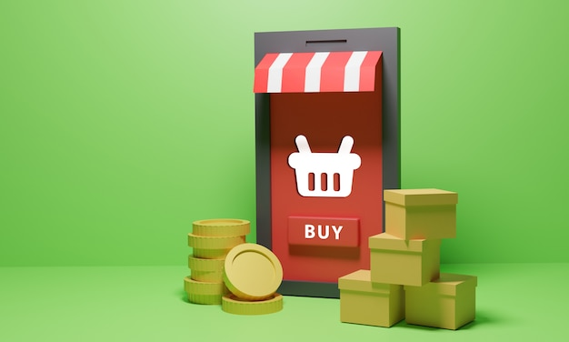 Online shopping store with goods and coins