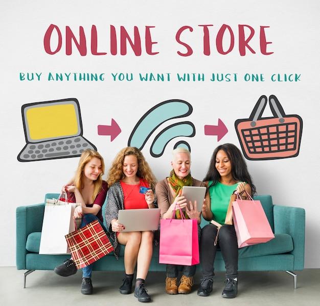 Shopping online negozio web e-shopping concept