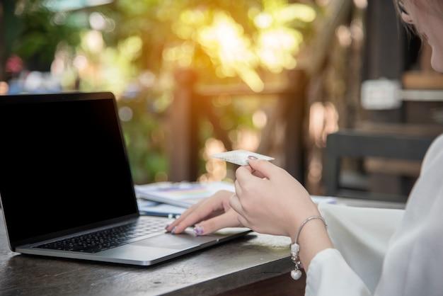 Online shopping website on laptop.